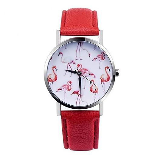 ZXMBIAO Reloj De Pulsera Relojes Moda Mujer Flamingo Impreso Reloj Cuarzo Analógico, Rojo: Amazon.es: Relojes