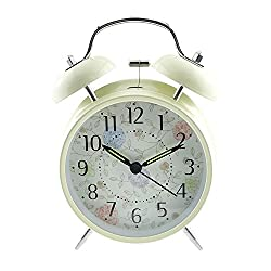 3 Quiet Non-ticking Silent Quartz Analog Retro Vintage Bedside Twin Bell Alarm Clock With Loud Alarm and Nightlight (Flowers and Leaves)