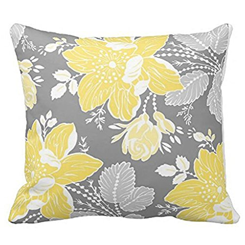 DECORLUTION Yellow Gray White Floral Decorative Decorative Throw Pillow Case Cushion Cover (20inchx20inch) (Gray And White Floral Bedding)