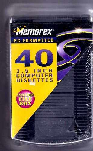 Memorex 40 PC Formatted 3.5 INCH Computer Diskettes includes File Box by Memorex