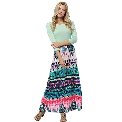Women Long Sleeve Floral Print Casaul Beach Boho Party Maxi (Mixed Print Maxi Dress)