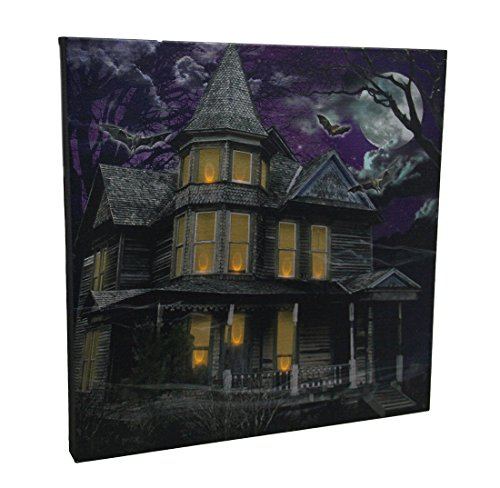 Darkness Falls Led Lighted Spooky Mansion Canvas Print