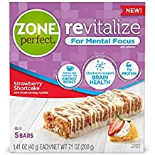 Zone Perfect Revitalize Energy Bars, With Caffeine for Mental Focus, Strawberry Shortcake, 5 Count