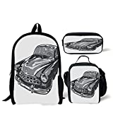 iPrint School Lunch Pen,Cars,Hand Drawn Vintage Vehicle with Detailed Front Part Hood Lamps Rear View Mirror,Grey Blue Grey,Bags