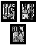 Motivational Inspirational Famous Quotes Wall Art Posters (8 x 10 inches) – Black and White Typographic UNFRAMED Wall Decor for the Home - Office - Classroom - Dorm Room - Gym - Entrepreneur