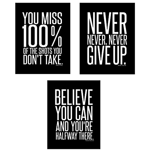 Motivational inspirational famous quotes teen boy girl sports wall art posters decorative prints black white workout fitness wall decor home office business