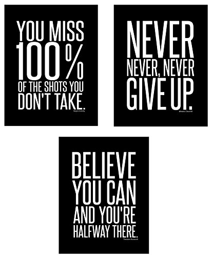 Motivational Inspirational Famous Quotes Teen Boy Girl Sports Wall Art Posters Decorative Prints Black White Workout Fitness Wall Decor Home Office Business Classroom Dorm Gym Entrepreneur