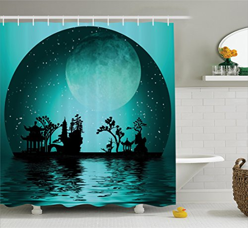 (Ambesonne Asian Decor Collection, Asia Landscape with Moon Stars Night Sky Holiday Festival Artistic Design, Polyester Fabric Bathroom Shower Curtain, 84 Inches Extra Long, Dark Teal)