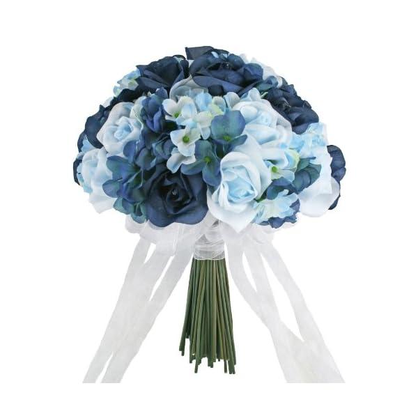 Hydrangea Rose Navy Light Beach Blue Hand Tie Large – Silk Bridal Wedding Bouquet