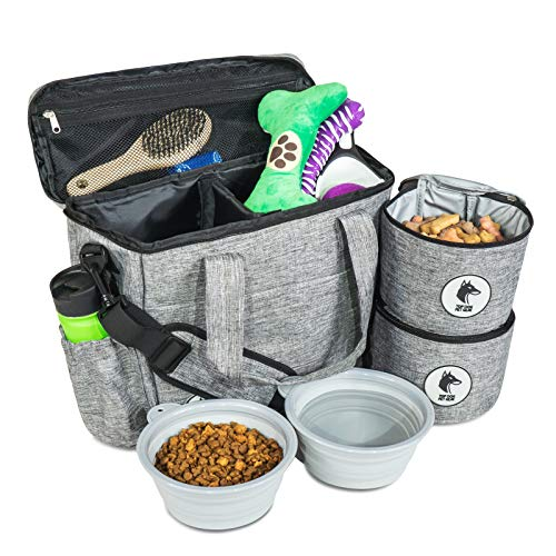 Top Dog Travel Bag – Airline Approved Travel Set for Dogs Stores All Your Dog Accessories – Includes Travel Bag, 2X Food…