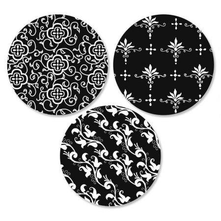 Black Elegance Envelope Seals - Set of 144 Self-Adhesive, Flat-Sheet, 1-1/2'' Sticker Seals, By Colorful Images