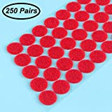 Sticky Back Coins-Hook Loop Self Adhesive Dots Tapes (250 Pair Sets) 20mm Diameter (Sticky Back Coins-Red)