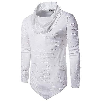 JiaMeng Sudadera con Capucha y Camisa de Manga Larga de Color sólido para Hombre Camisa Casual