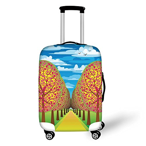 Travel Luggage Cover Suitcase Protector,Tree of Life,Illustration of Flowering Cherry Trees with Clear Sky and Flying Birds Pastel Eco Home Decorative,Multi,for Travel (Cherry Rockford)