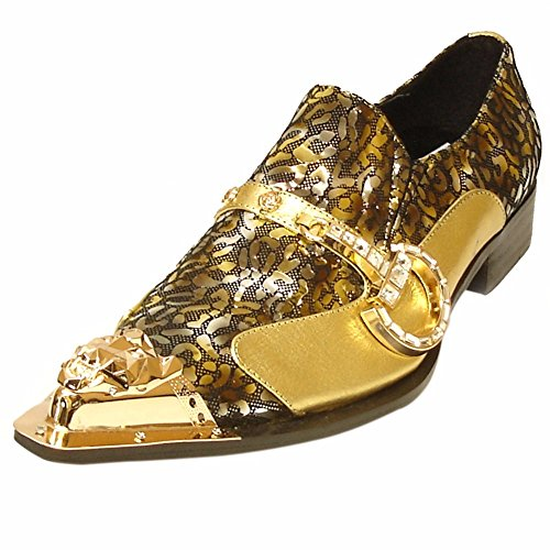 Fancy Gold Toe Fiesso ONS Pointed for Loafers and Band –Leather Metallic Side Men with Slip Fashion Shoes fvvgHU