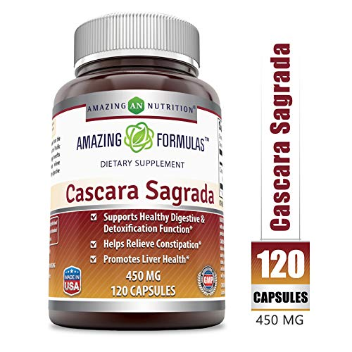 Amazing Formulas Cacara Sagrada Dietary Supplement - 450mg, Capsules Gentle Herbal Laxative- Supports Healthy Digestive & Detoxification Function - Supports Overall Well-Being (120 Count)
