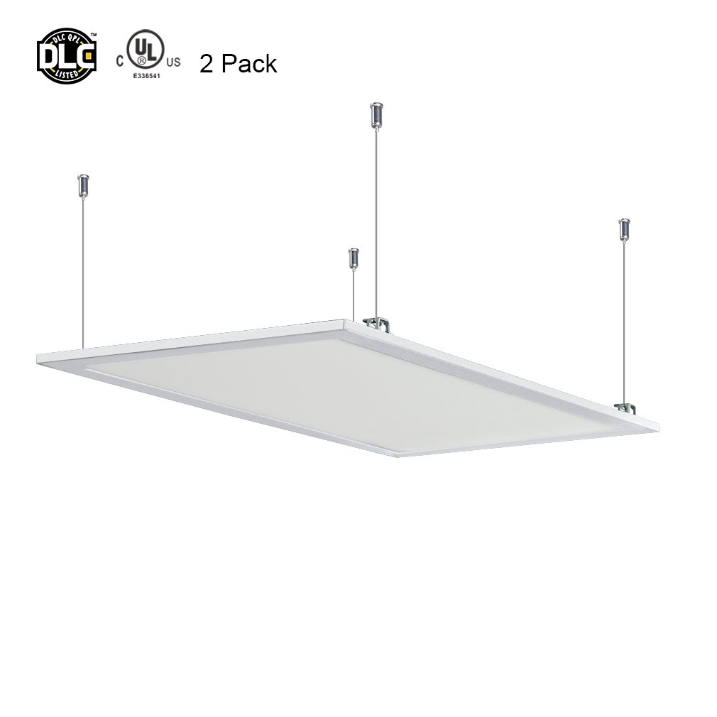 2-Pack Anten 50W 4x2ft(47''x24'') Flat Square Dimmable LED Recessed Ceiling Light Panel Downlight Lamp with Aluminum Frame, 4500LM, SMD2835, Neutral White 4000-4500K, Suitable for 1-10V Dimming Switch