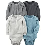 Carter's Baby Boys' 4-Pack Multi Solid Boys Bodysuits 3 Months