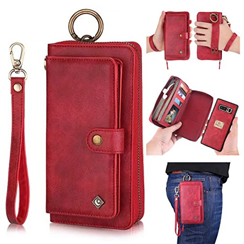 Galaxy Note 8 Leather Flip Case Cover,Galaxy note 8 wallet Case For Women and Men,AIFENG [14 Card Holder][Zipper][Magnetic Detachable]Wallet Folio Case Leather Pouch For Samsung Galaxy note 8,Red