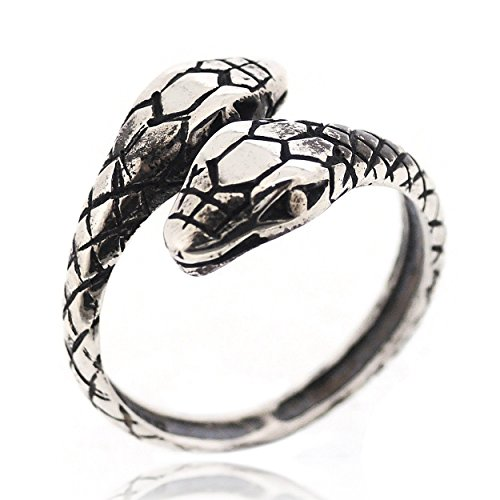 SOVATS Snake Adjustable Gothic Punk Rock Retro Style Ring for Women 925 Sterling Silver Oxizidize Surface - Simple, Stylish &Trendy Nickel Free Ring, Size 7