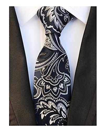 Men's Black Grey White Ties Floral Fashion Woven Silk Paisley Bridegroom (Black And White Paisley)