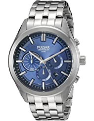 Pulsar Mens PT3679 Chronograph Analog Display Japanese Quartz Silver Watch