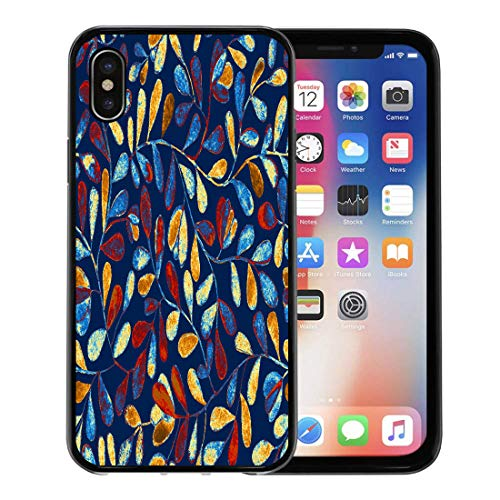 Semtomn Phone Case for Apple iPhone Xs case,Bright Blue Colorful Floral Tiling Watercolor Leaves Flowers Fern Branches on Dark Hand Tini Bosk for iPhone X Case,Rubber Border Protective Case,Black