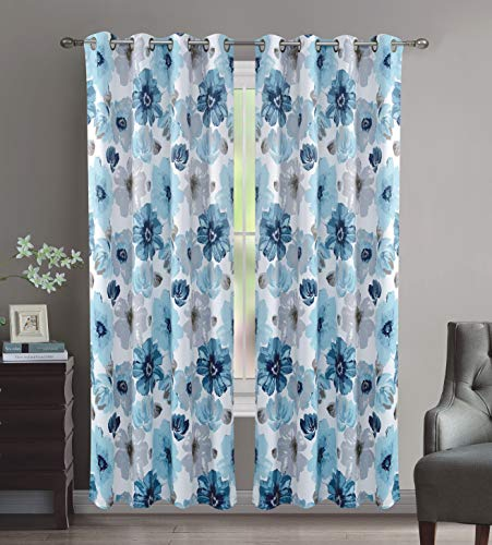 Crystal Home Decor 2PC Room Darkening Window Curtain, Set of 2, 8 Bronze Grommets Per Panel, Floral Design (Blue, 52
