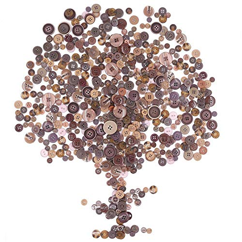 Rustark 650Pcs Brown Resin Buttons Favorite Findings Basic Buttons 2 and 4 Holes Craft Buttons for Arts, DIY Crafts, Decoration, Sewing – Sizes Range from 0.28 to 1.18 Inch