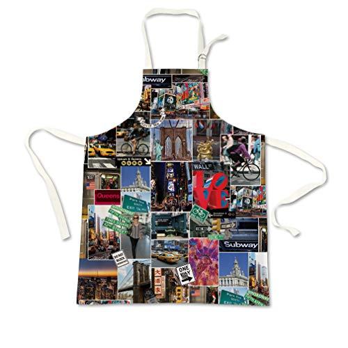 Sweet Gisele New York NYC Cooking Apron | 3D Print Chef Aprons | Great Home Kitchen Souvenir Gift Soft | Travel Accessories Made in USA | 1 Size Adjustable Bib Unisex (Multicolor)