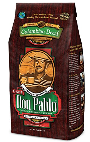 2LB Cafe Don Pablo Decaf Swiss Water Process Colombian Gourmet Coffee Decaffeinated - Medium-Dark Roast - Whole Bean Coffee - 2 Pound ( 2 lb ) Bag (Roasted Beans Coffee Gourmet)