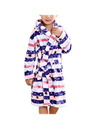 Mesinsefra Children Robe Flannel Bathrobe Kids Sleepwear