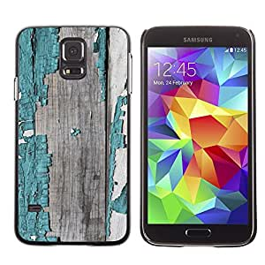 LECELL--Funda protectora / Cubierta / Piel For Samsung Galaxy S5 SM-G900 -- Chipped Wood Painted Grey Pattern --
