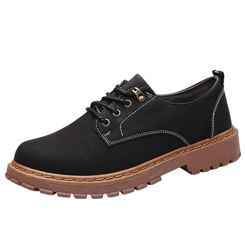 【MOHOLL】 Men' s Genuine Leather British Business Casual Shoes Plain Toe Oxfords Casual Shoes Tooling Shoes Black