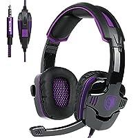 Auriculares de juego actualizados, SADES SA930 Auriculares estéreo con cable de 3.5 mm con sonido estéreo para juegos con micrófono, Control de volumen con aislamiento de ruido para PC /Mac /Ps4 /Teléfono /Tableta (Negro Púrpura)