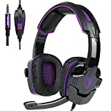 Thinktank PS4 Gaming Headphone,SADES SA930 3.5MM Stereo Surround Lightweight Gaming Headset with Microphone Volume Control for PC/MAC/PS4/Smartphone/Table(Black+Purple)
