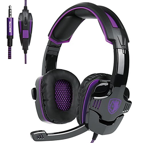 SADES SA930 3.5mm Wired Over Ear Stereo Gaming Headset with Mic Noise Isolating for PS4/ PC/ MAC/ Phones/ Tablet in Black Purple by SADES