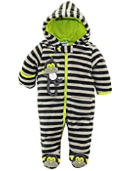 Duck Goose Baby Boys Stipes Cute Little Monkey Plush Footed Ear Pram Suit, Grey, 0-3 Months