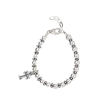 c56160aa2 Christening Sterling Silver Beads and Spacers with Sterling Silver Cross  Charm Luxury Stylish Unisex Toddler Bracelet