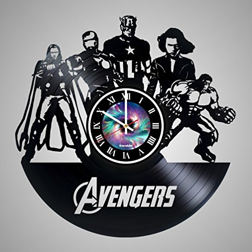 Comics Band Vinyl Record Wall Clock - Avengers - Get unique living room wall decor - Gift ideas for friends, teens, children, men and women, boys and girls - LEAVE A FEEDBACK AND WIN A CLOCK