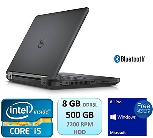 Dell Latitude E5450 14 Inch HD Business Laptop Intel Core 5th Generation i5 i5-5300U 8GB DDR3L 500GB 7200RPM HDD Webcam Bluetooth Windows 8.1 Pro