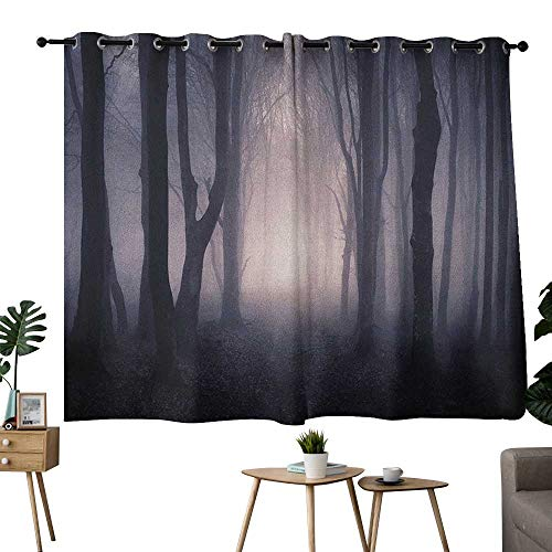 homecoco Forest Grommets Darkening Darkening Curtains Path Through Dark Deep in Forest with Fog Halloween Creepy Twisted Branches Picture Curtain Living Room Pink Brown W63 x L72 -