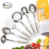high end kitchens LUMOUR 6-Piece Stainless Steel Kitchen Cooking Utensil Set (Stainless Steel)