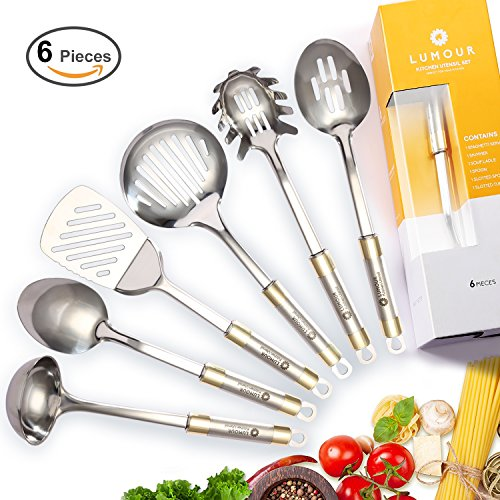 Gold Server Pasta (LUMOUR 6-Piece Stainless Steel Kitchen Cooking Utensil Set (Stainless Steel))
