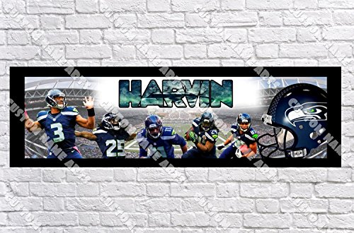 (Personalized Seattle Seahawks Banner - Includes Color Border Mat, With Your Name On It, Party Door Poster, Room Art Decoration - Customize)