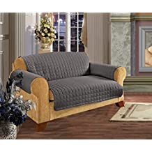 Elegant Comfort Quilted Furniture Protector For Pet Dog Children Kids Sofa, Gray