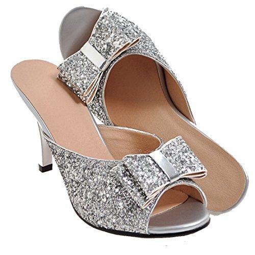 7311728f510c06 AIYOUMEI Damen Glitzer Peep Toe Stiletto High Heels Pantoletten mit  Schleife Bequem Modern Pailletten Sandalen Silber ...