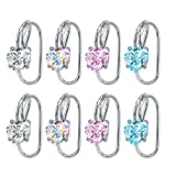 4 Pairs Crystal CZ Ear Cuffs Wraps Stainless Steel Ear Cartilage Clip Non Pierced Earrings For Women (Heart)