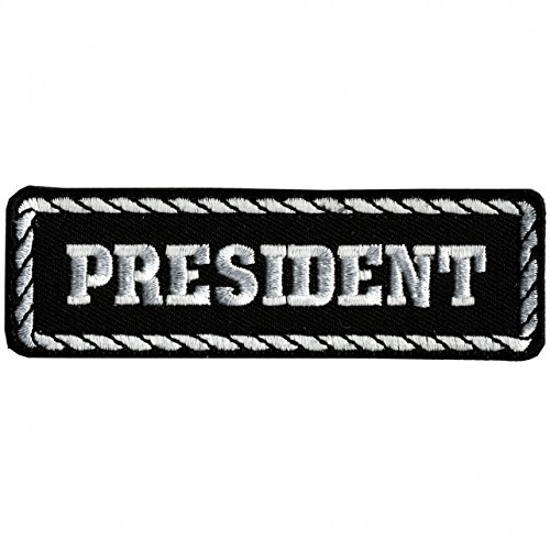 Hot Leathers, PRESIDENT, Black & White - High Thread Iron-On / Saw-On Rayon PATCH - 4