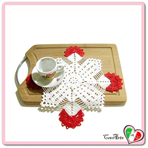 Square Red and White crochet filet doily in cotton - Size: 12.6 inch x 12.6 inch H - Handmade - ITALY